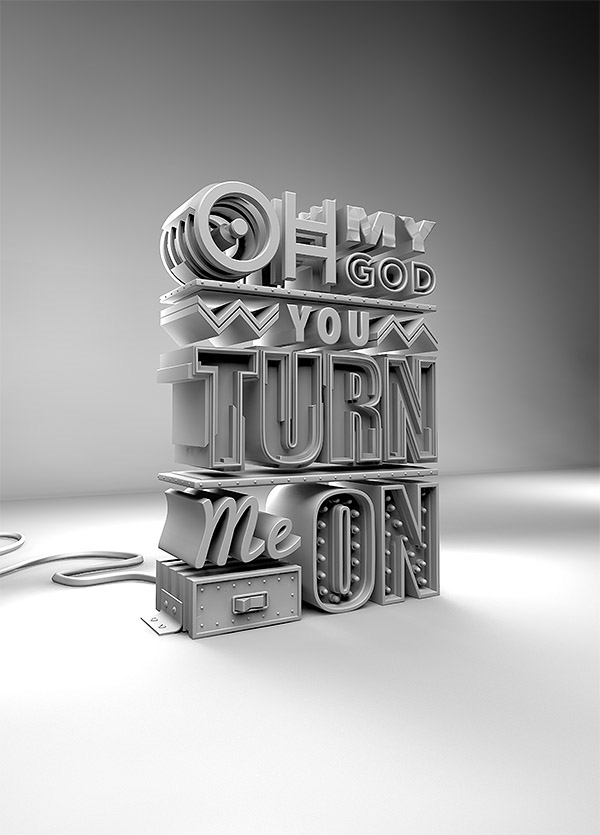 c4d typograpy type 3D photoshop retouch extrude GI
