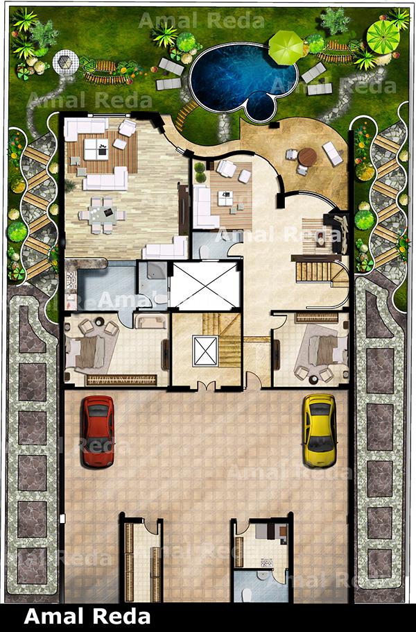 villa 2D Photoshop  Plan  on Behance