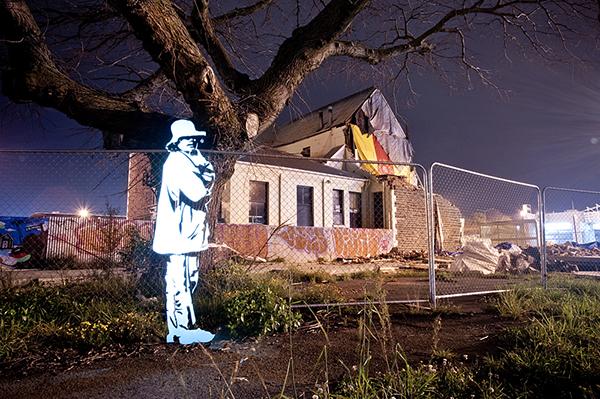 lightpainting Christchurch New Zealand stencil