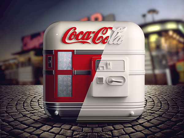ios iphone Icon app design glass texture details vector artwork graphicdesign drink coke cola