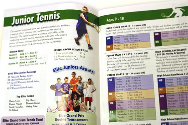 brochure tennis print Milwaukee Wisconsin