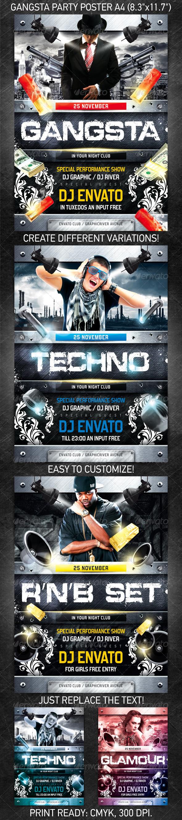 gangsta party poster psd template on behance