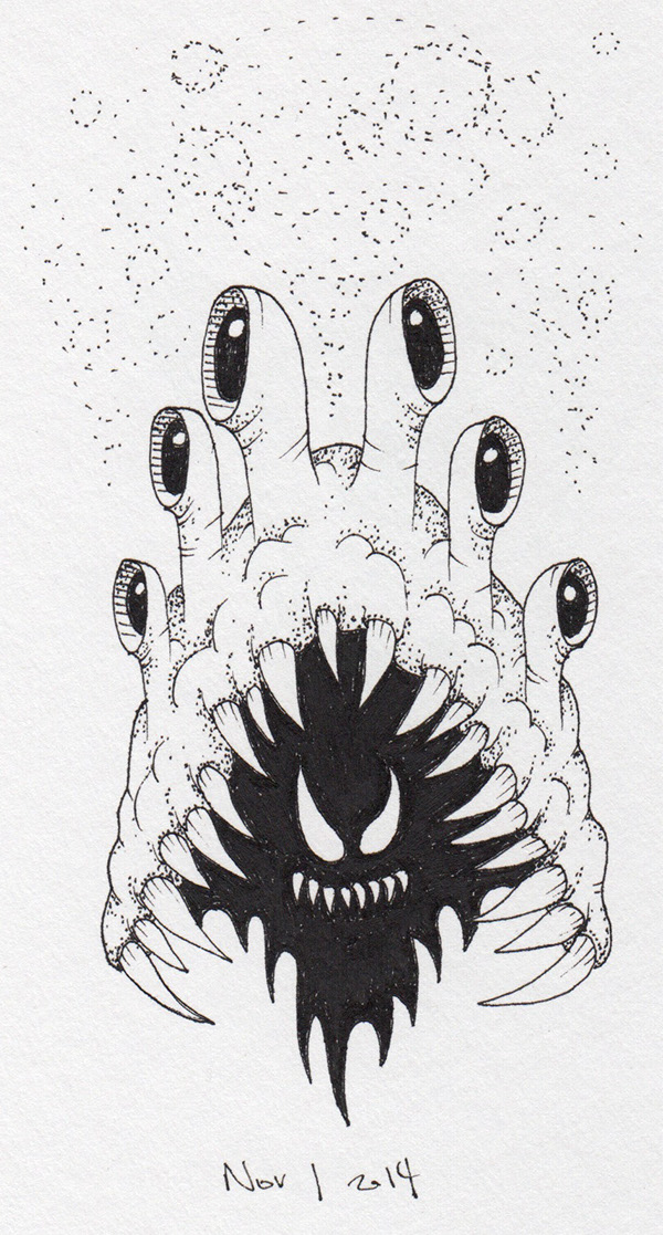 monster devil demon spooky creature imp drawn ink b&w black and white