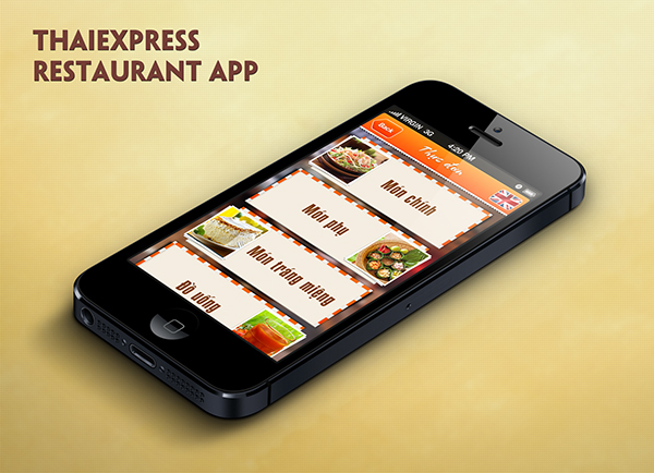 Restaurant app UI Thaiexpress Thailand free ui free psd psd