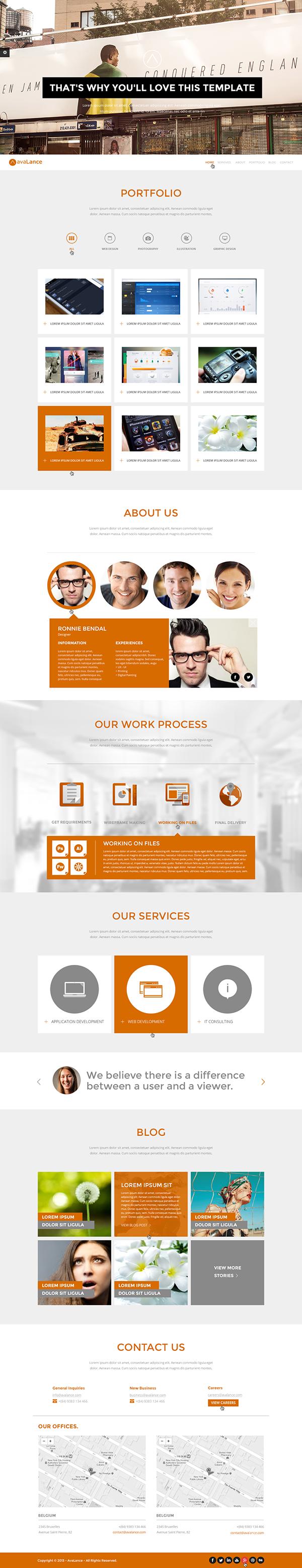 avalance clean creative portfolio template on behance