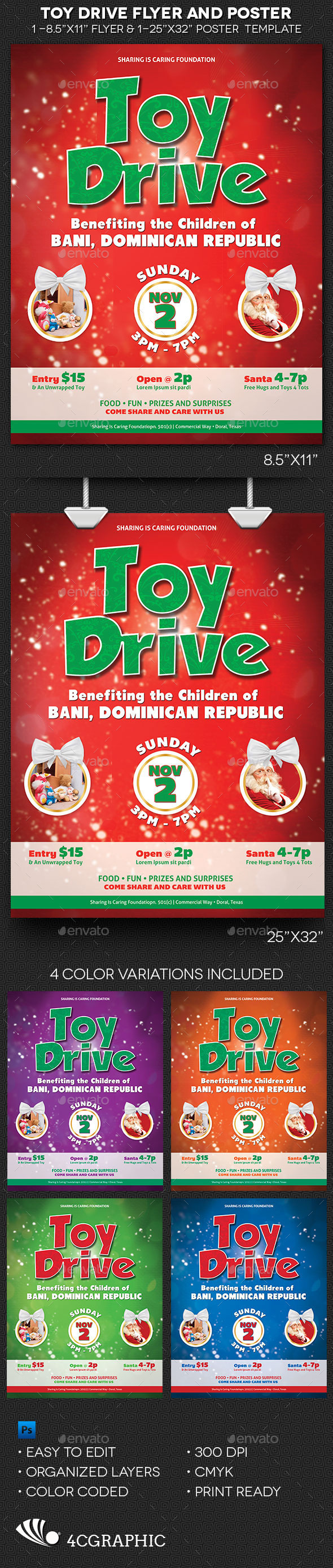 the toy drive flyer and poster template is great for fundraising events and christmas toy drive for charity organizations a festive and decorative dcor is