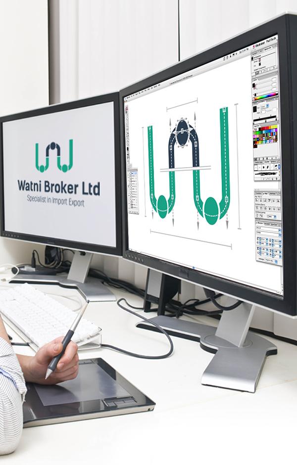 Watni broker brokers logo stationary creative design