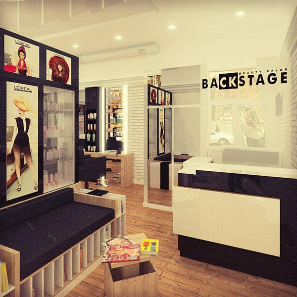 Backstage beauty salon design and visualization on behance for 3d salon design software