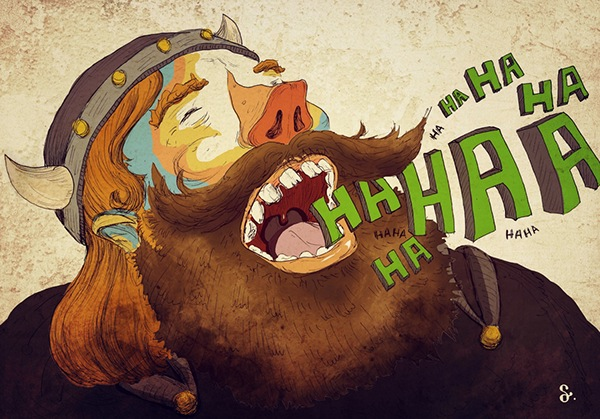 viking beard moustache laugh