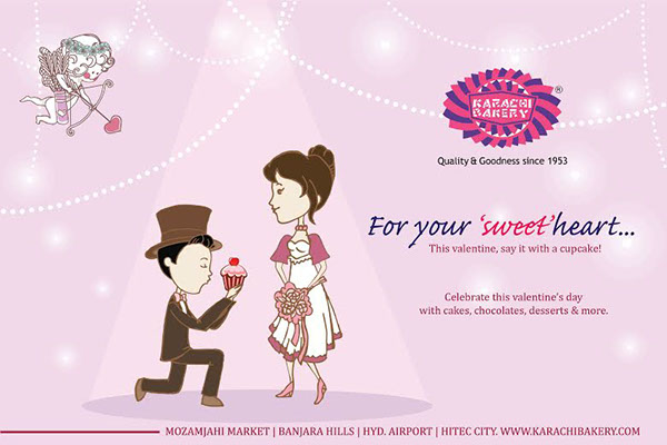 valentines Karachi Bakery sweet in-store display cupcakes Hyderabad