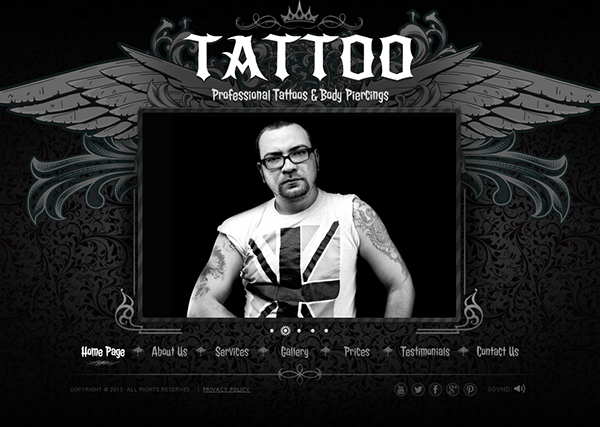 tattoo professional tattoos html5 template 300111630 on behance. Black Bedroom Furniture Sets. Home Design Ideas