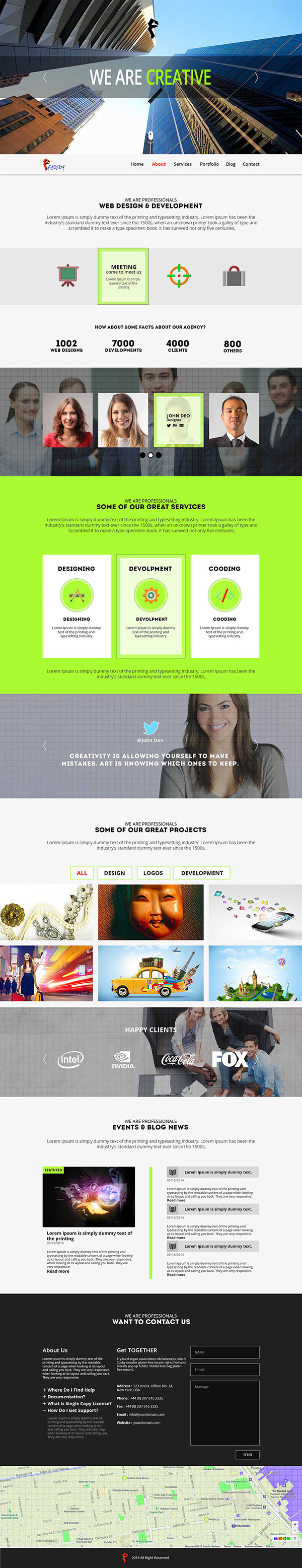 Free Faddy One Page Parallax Template On Wacom Gallery