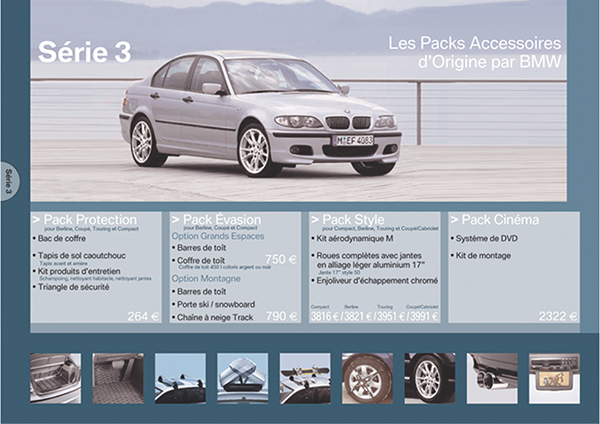 R BMW 3er Berline f30 tarif prospectus price list Brochure de 7//2017