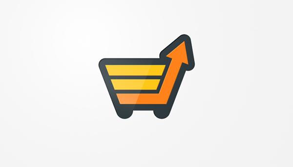 logo identity brand shopping cart basket growth chart graph e-commerce