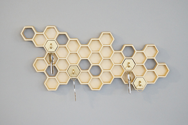 First Things First NYCxDesign fab honey keychains bee keyholder hexagon honeycomb beehive Retro