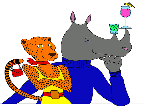 Animal Planet zoo animals cartoon Social Habits whimsical stylized Cel Animation digital humor Bar Scene Spin the Bottle line art Menagerie Anthropomorphic Dating Pick-Up Lines