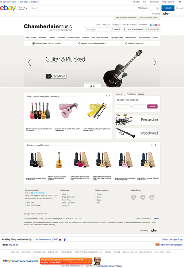 Chamberlain Music ebay store design on Behance