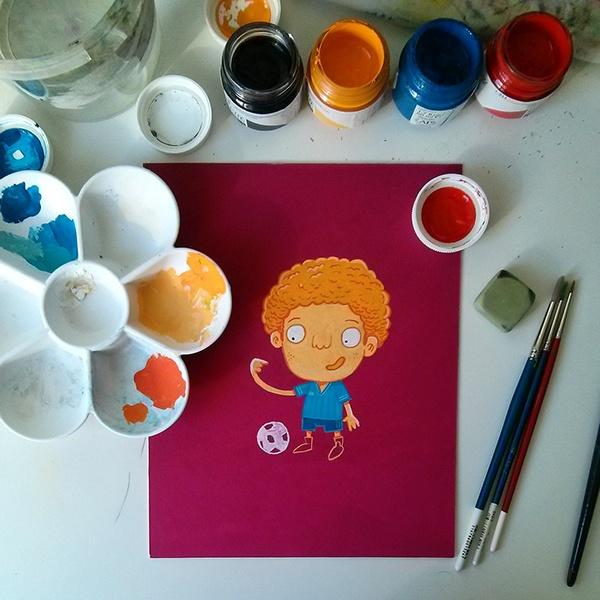 crew guache Hand Painting colors child children gouache brush paint brush