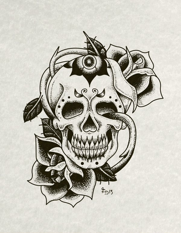 Skull and Roses - Tattoo Flash Art on Behance