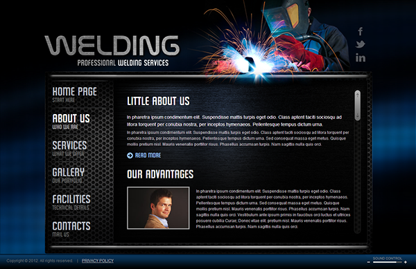 Welding service html5 template on behance pronofoot35fo Choice Image
