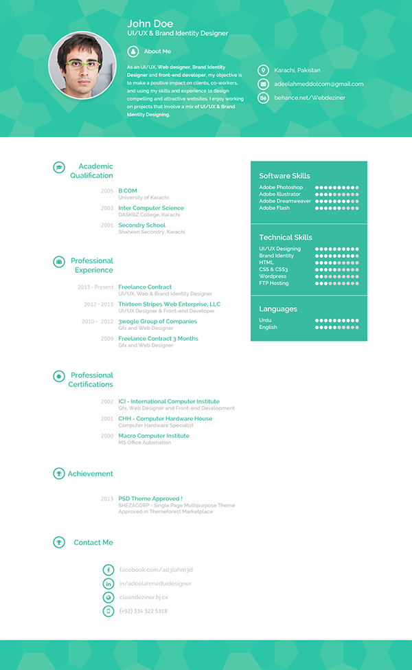 Matteo Innominato Creative Resume Template. Creative Resume On