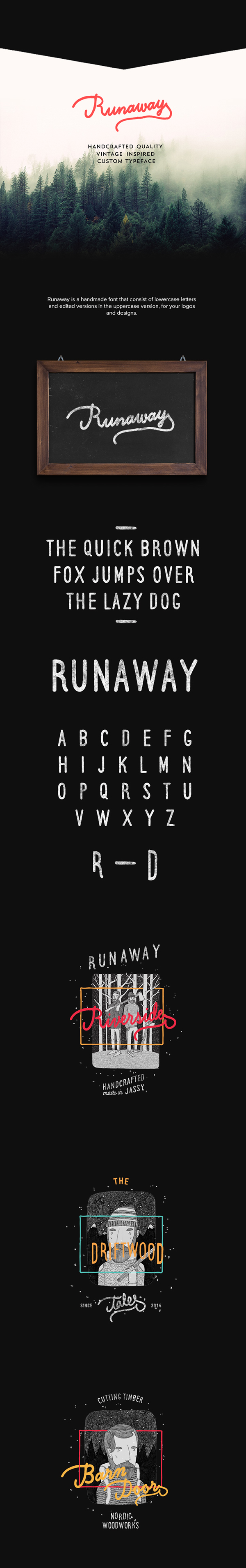 font handmade hand drawn lettering type Runaway Typeface vintage Retro free HAND LETTERING Free font