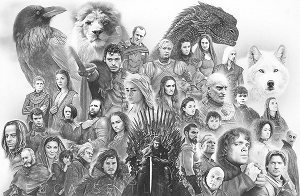 drawing game of thrones Game Of Thrones Collage On Behance