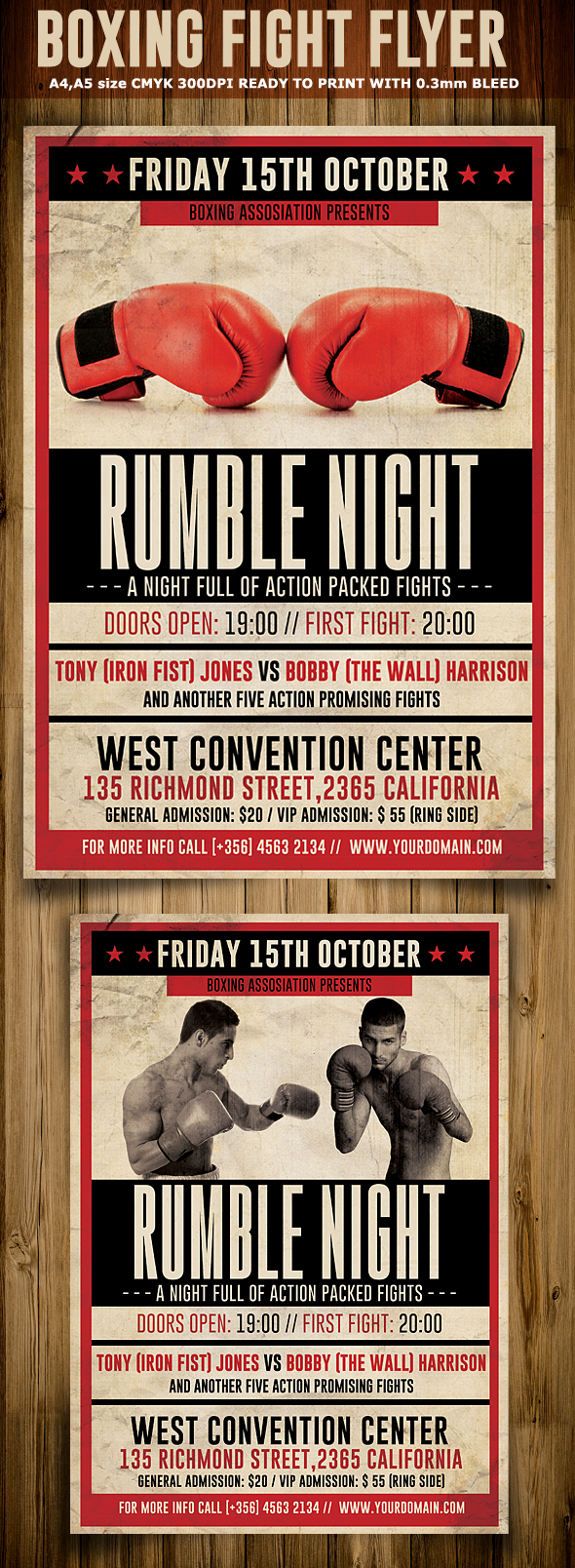 vintage boxing flyer template on behance