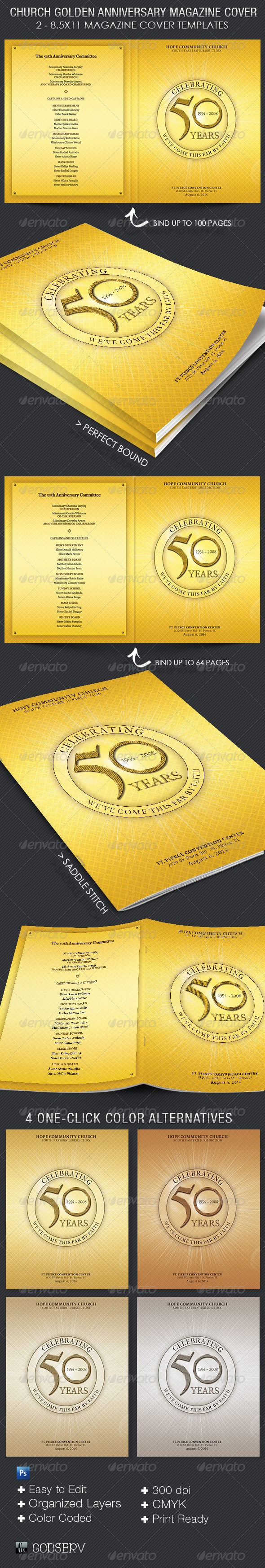 Church golden anniversary magazine cover template on behance both saddle stitch and perfect bound setup is included sold exclusively on graphicriver this template is convenient all you need to do is edit maxwellsz