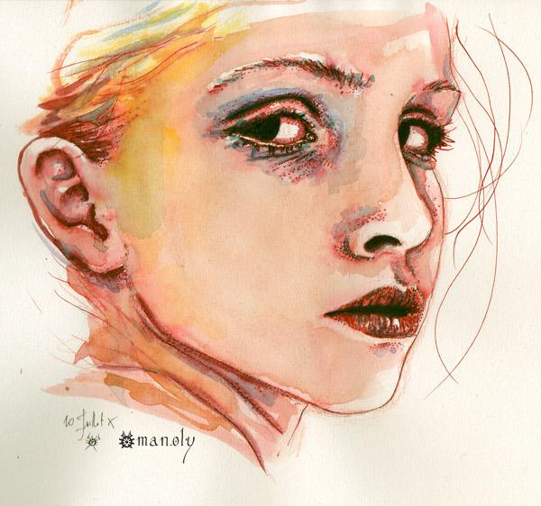 fashion illustration watercolor portrait face Holy Mane