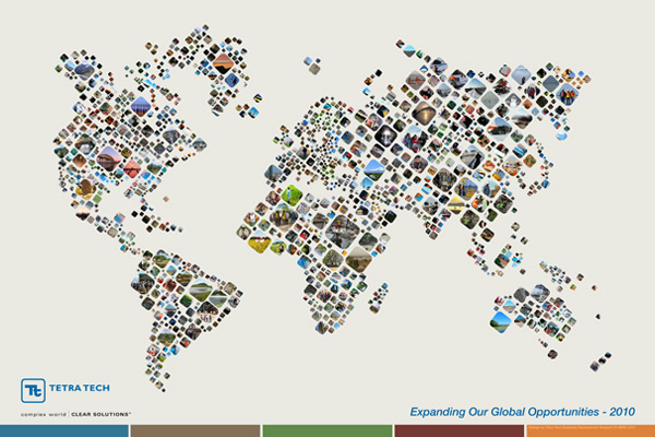 Mosaic world map on behance depicting a project in a region and larger images representing larger projects we arranged the mosaic images into shapes that depict the continent in gumiabroncs Image collections
