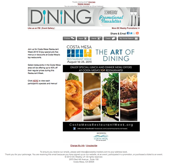 Costa Mesa Restaurant Week on Behance