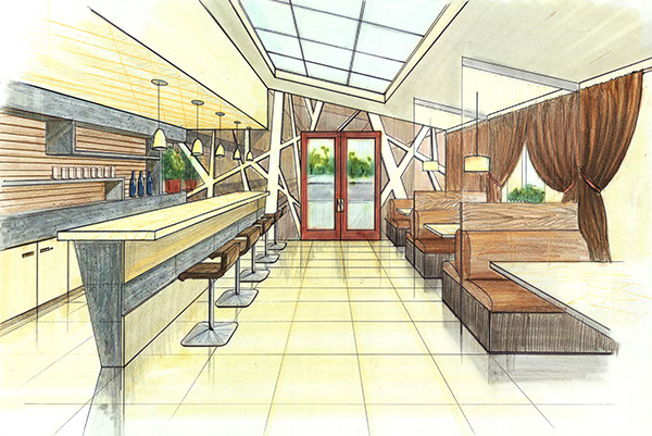Architectural drawing of a restaurant on behance