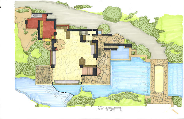 Quick Hand Renderings on Frank Lloyd Wright Falling Water Plans