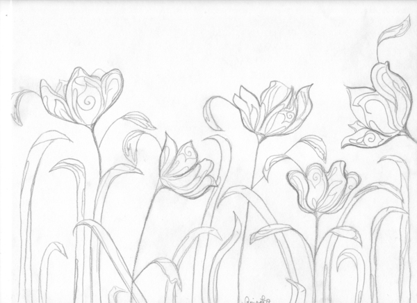 Spring Flowers Sketch Drawing 09 On Behance