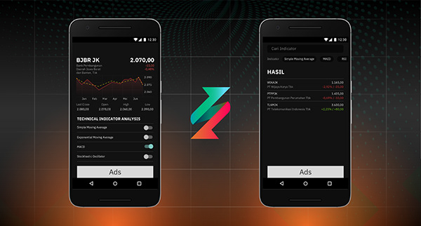 2 mobile phones that shows screenshots of Stockasstic's interface design