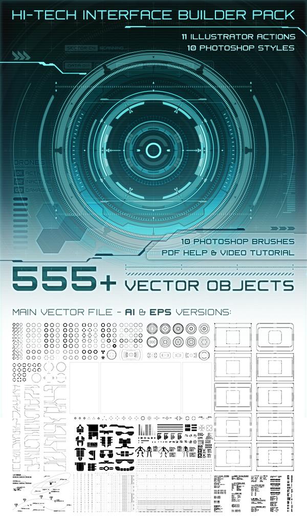 hi-tech Interface Illustrator photoshop HUD template UI vector Technology futuristic