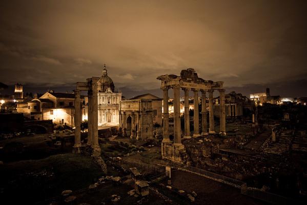 Rome night wet rain