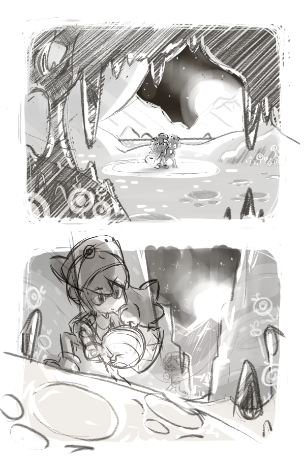 concept art environment Visual Development background mountain Onirigami Indie game video game mobile game rough sketches atmosphere night yeti Tourmaline Studio Landscape
