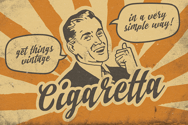 vintage Retro Script brush Classic ad badge lettering handdrawn handmade handwritten 60s 50s old school