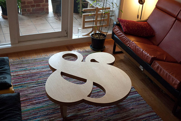 ampersand CNC cut table plywood type dimensional type furniture