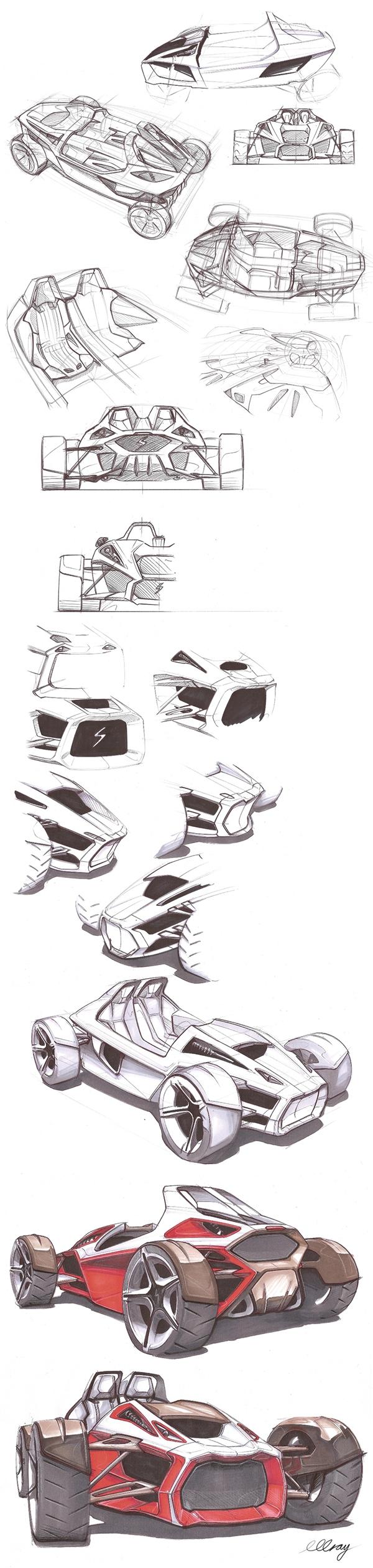 专业跑车草图