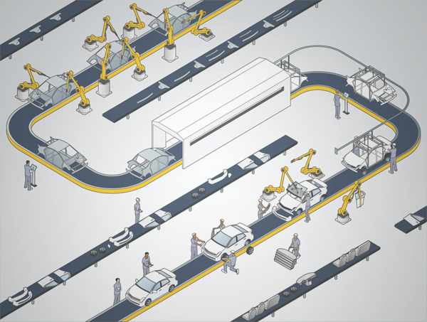 auto assembly line illustration on behance