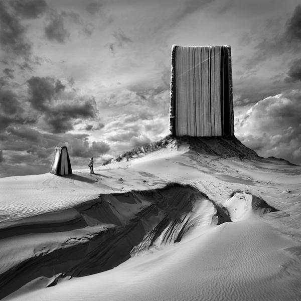 square surreal dark White black kwadrart light shadow desert dunes sand rock