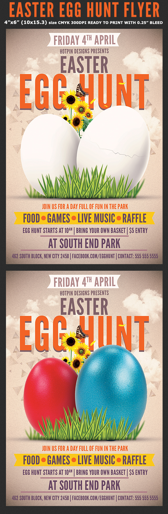 easter egg hunt flyer template on behance