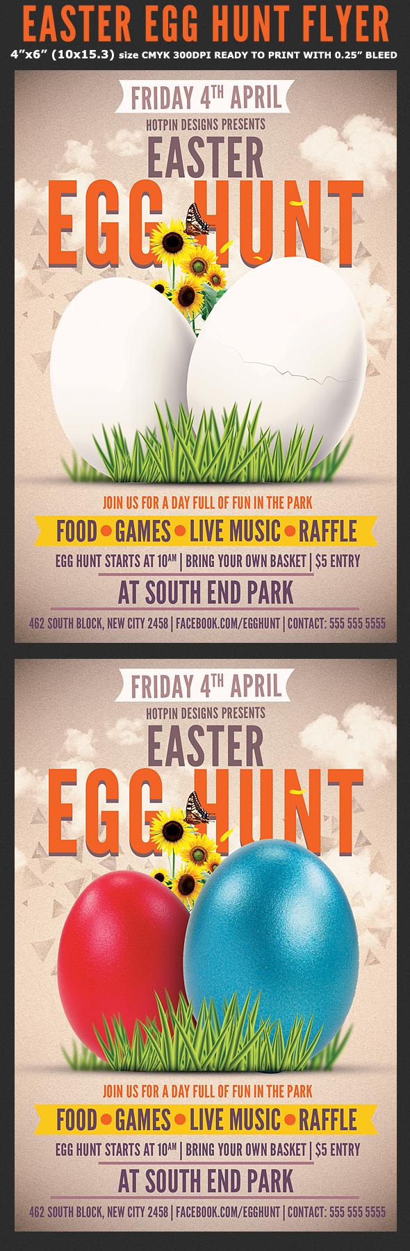 easter egg hunt flyer template on behance