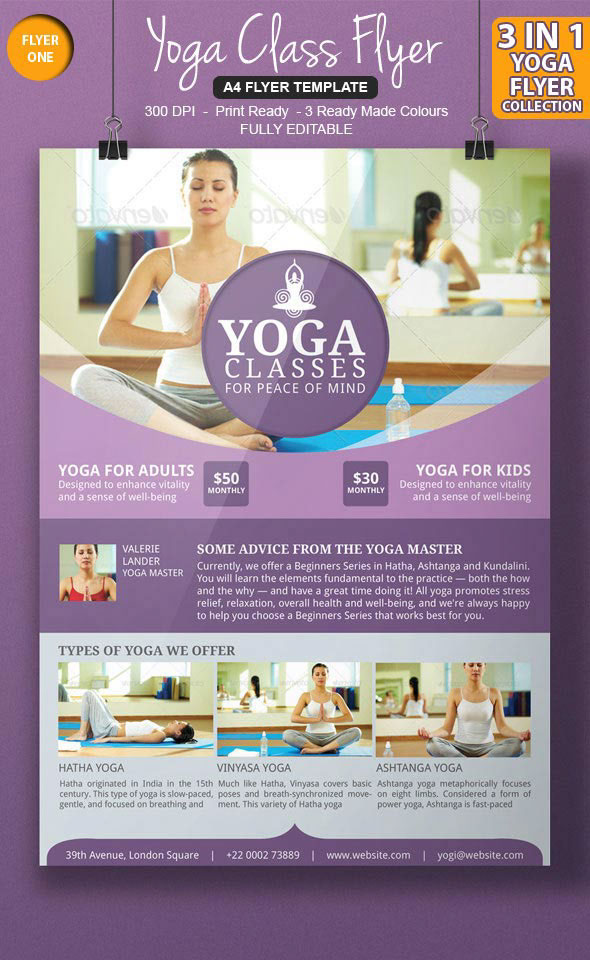 3 awesome yoga flyer template on behance for Yoga brochure templates