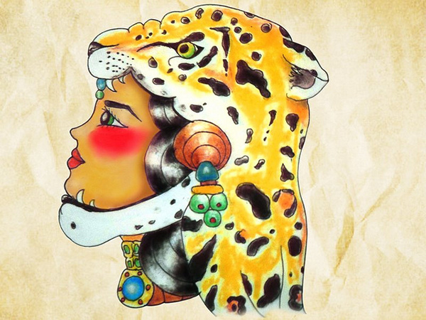 Mexican tattoo flash by alxbngala on behance for Jaguar warrior tattoo
