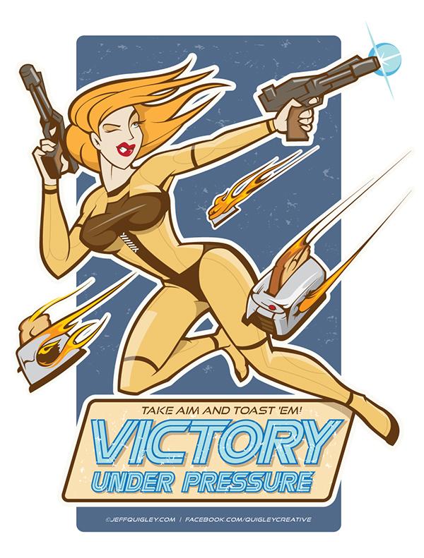 quigley creative  jeff quigley  battlestar galactica bsg/tos Illustrator vector pinup nose art  Sexy cylon toaster Victory pressure