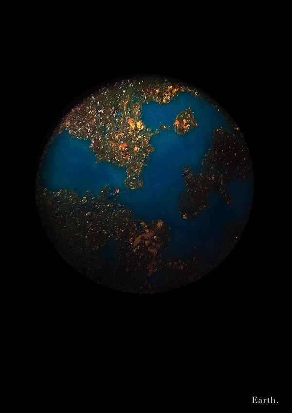 Planets Pan earth Sun moon mars Jupiter uranus light colors ink dust water wacom Ps25Under25